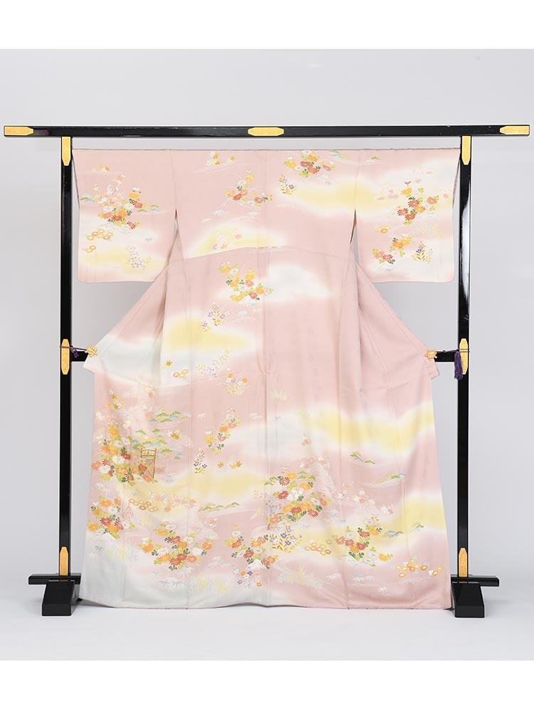 【高級訪問着レンタル】h-1 ピンク系・古典花柄 MLサイズ 四季の花