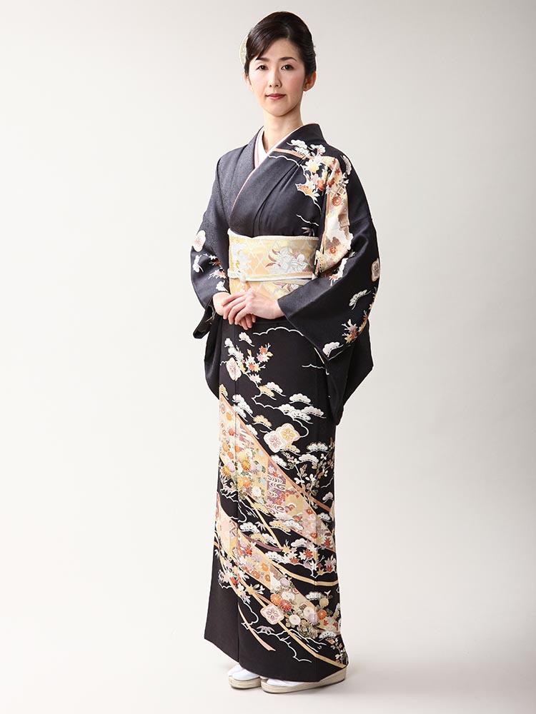 【高級訪問着レンタル】h-22 濃いめの色 Lサイズ 松・菊