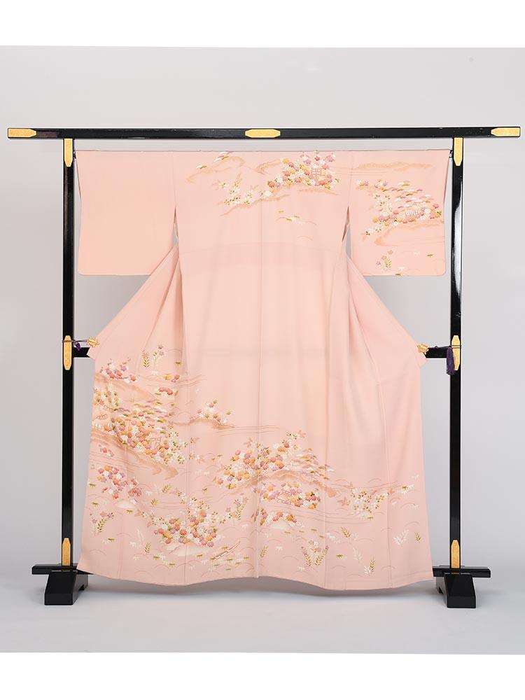 【高級訪問着レンタル】h-25 サーモンピンク MLサイズ 四季の花