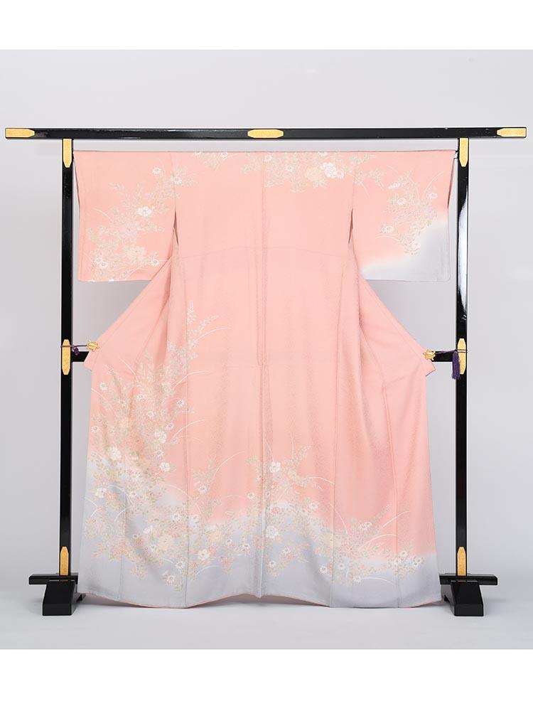 【高級訪問着レンタル】h-27 かわいらしいピンク系 MLサイズ 四季の花