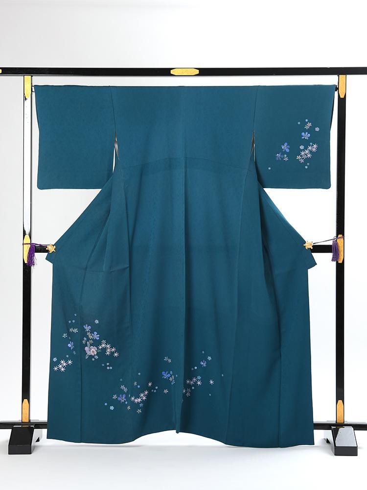 【高級訪問着レンタル】h-28 濃いグリーン MLサイズ 洋花