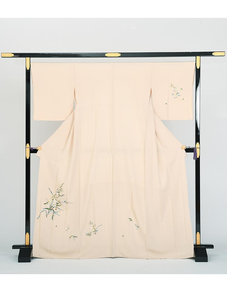 【高級訪問着レンタル】h-30 刺繍 草花柄 MLサイズ 草花