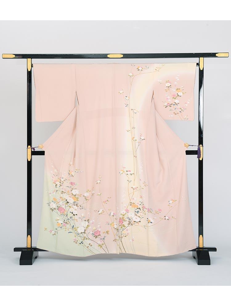 【高級訪問着レンタル】h-33 花々 ピンク系 MSサイズ 四季の花