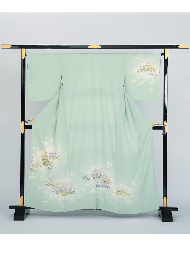 【高級訪問着レンタル】h-34 花々 グリーン MSサイズ 四季の花