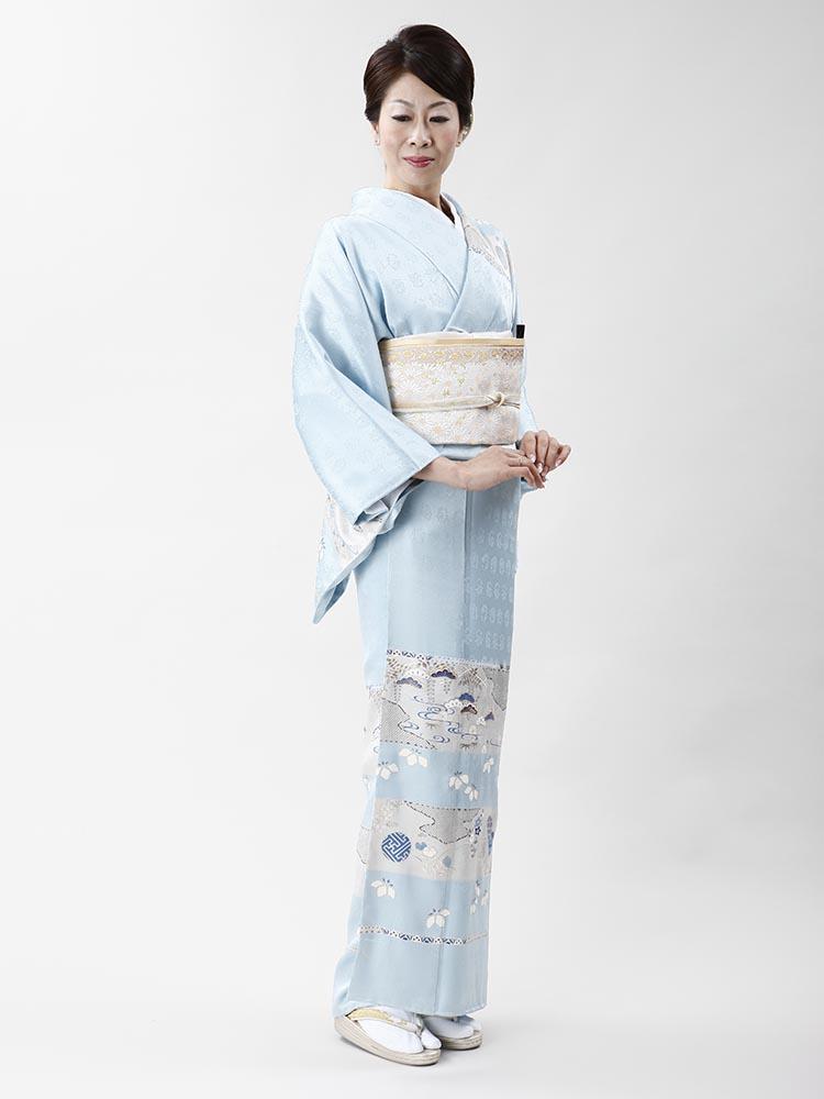 【高級訪問着レンタル】h-403 「成謙」謹製 水色 MLサイズ 松・花々