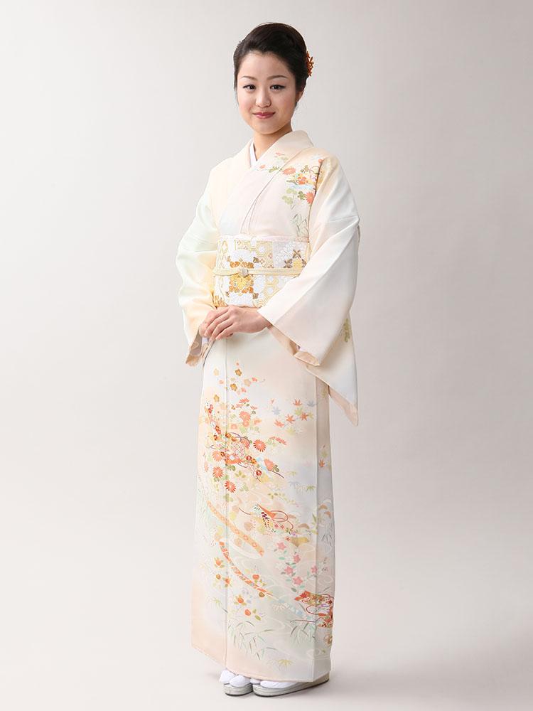 【高級訪問着レンタル】h-405 京の老舗染匠 オレンジ系 MLサイズ 四季の花