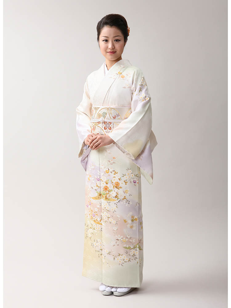 【高級訪問着レンタル】h-406 京の老舗染匠 白系 MLサイズ 四季の花