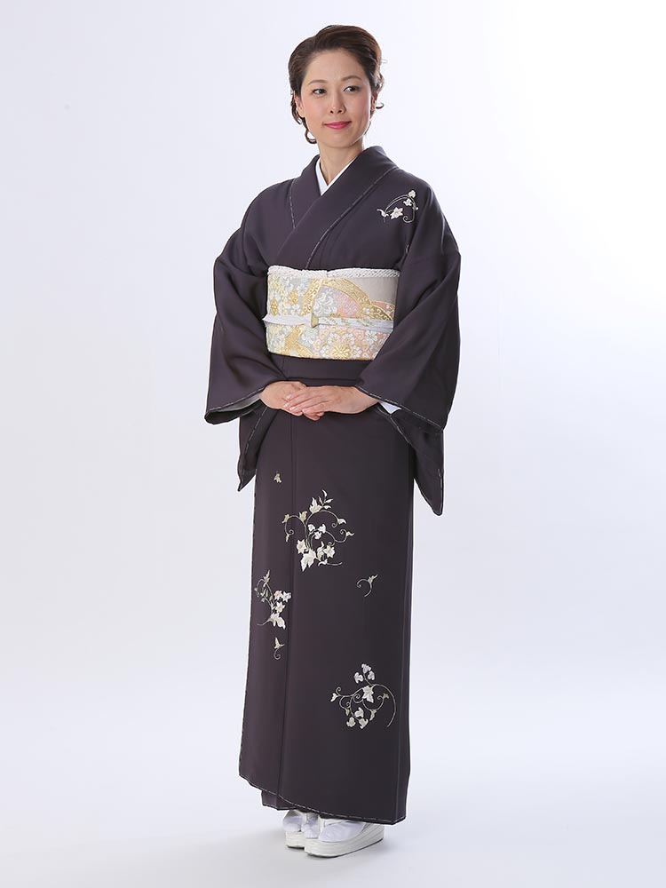 【高級訪問着レンタル】h-415 渋め 刺繍 MLサイズ 草花