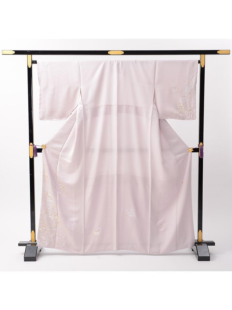 【刺繍の訪問着レンタル】h-418 しっとり系ピンク Mサイズ 花