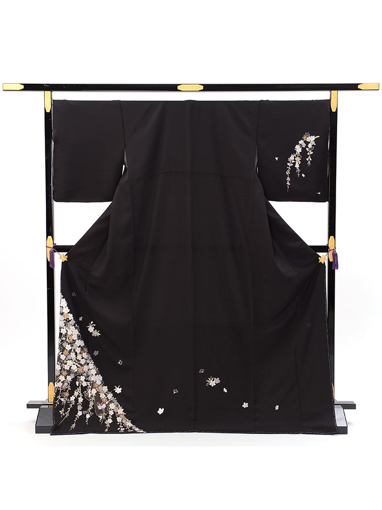 【高級訪問着レンタル】h-423 黒地・粋 MLサイズ 桜