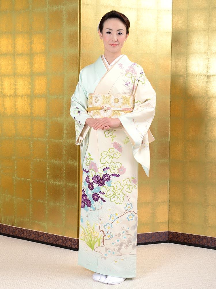 【高級訪問着レンタル】h-425 色鮮やかな手描き京友禅 Mサイズ 四季の花