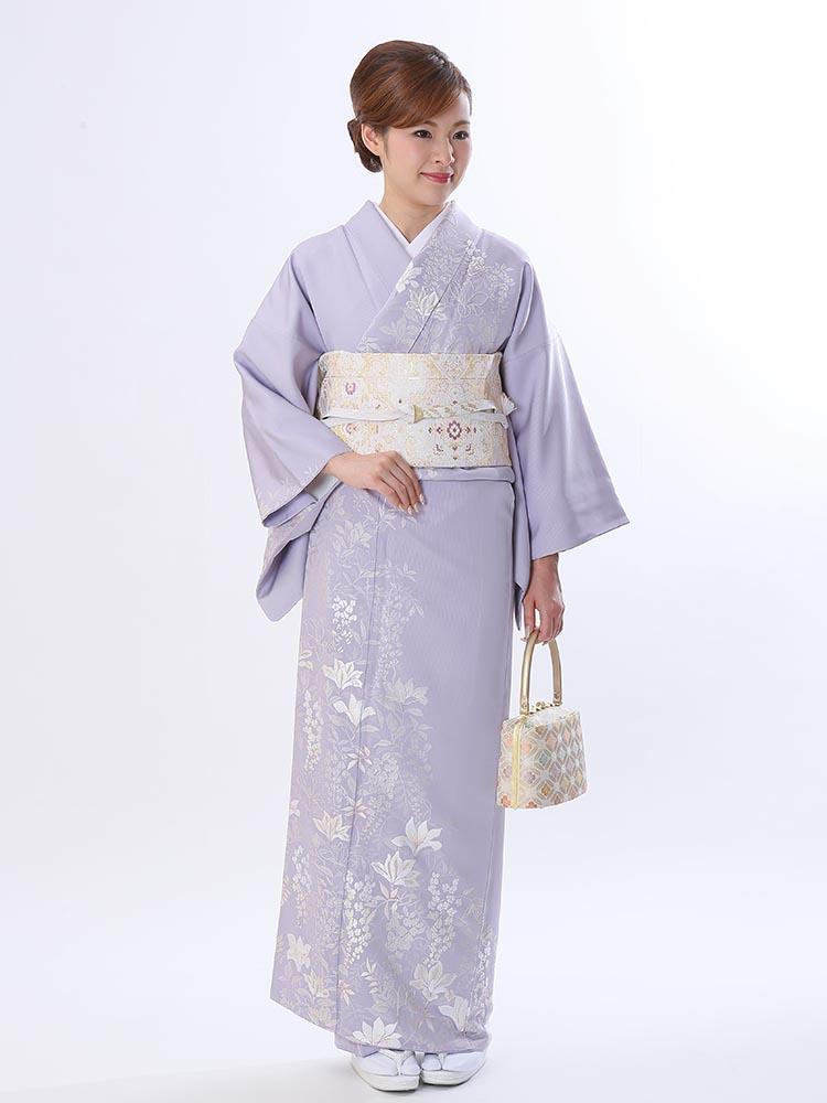 【高級訪問着レンタル】h-427 藤色 刺繍 Mサイズ 花々