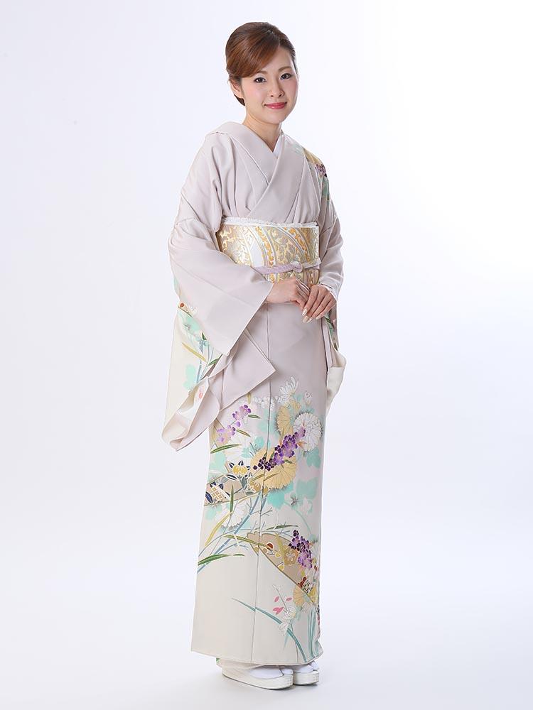 【高級訪問着レンタル】h-434 菱健謹製 藤色 花々 Lサイズ 四季の花