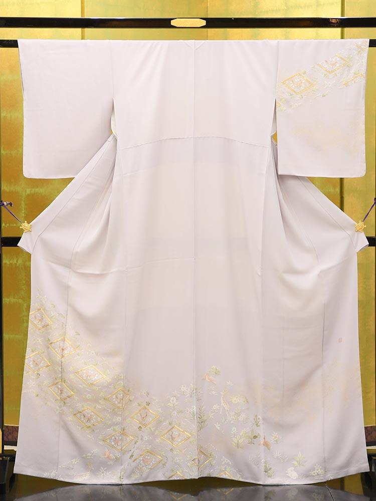 【高級訪問着レンタル】h-438 山口美術織物 刺繍 紫系 MSサイズ 菱