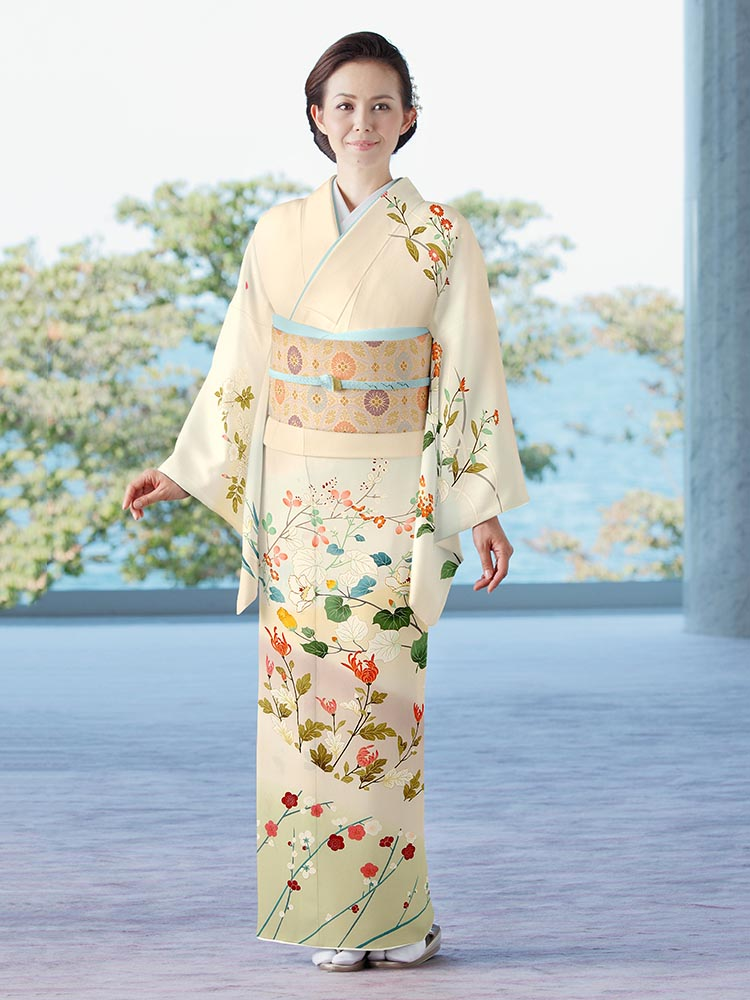 【高級訪問着レンタル】h-441 菱健謹製 四季の花 Lサイズ 四季の花