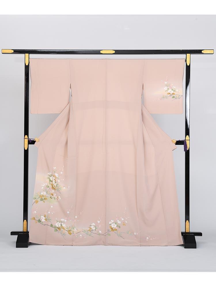 【高級訪問着レンタル】h-4 くすんだピンク 花々 MLサイズ 花々