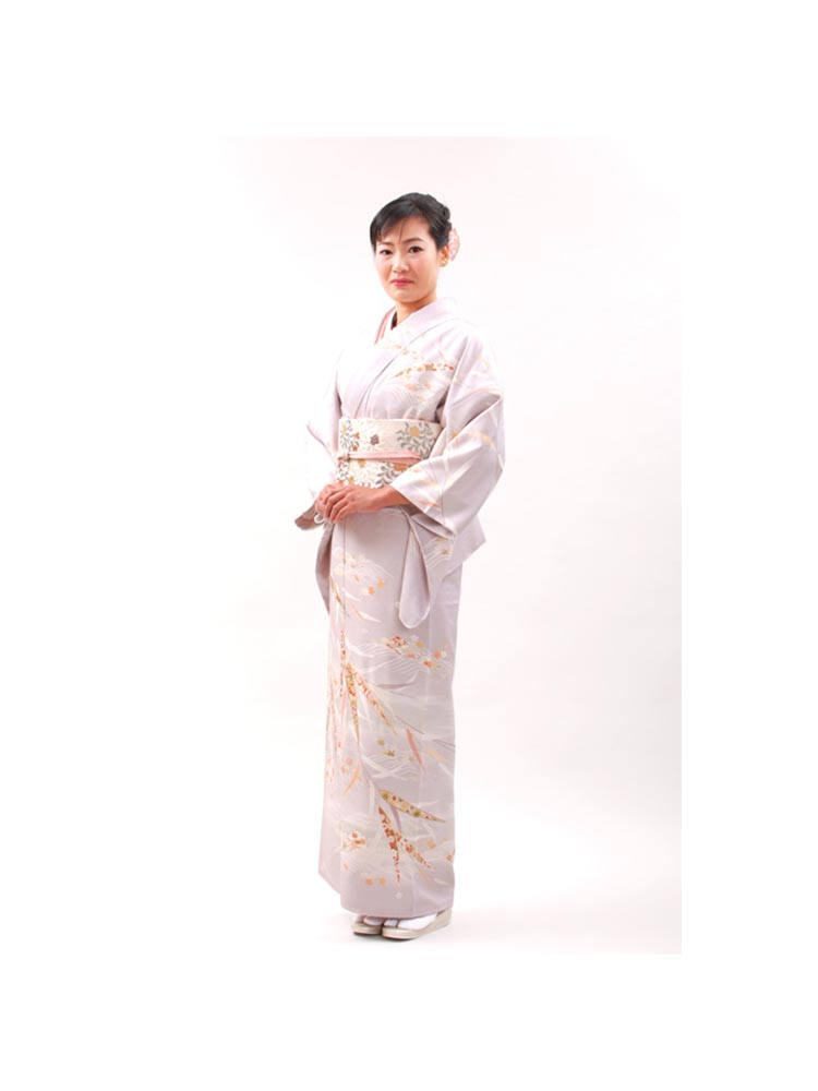 【高級訪問着レンタル】h-54 久保耕 淡い藤色 MLサイズ 笹