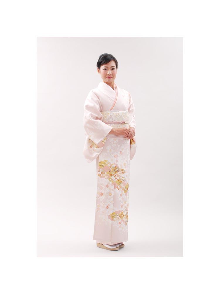 【高級訪問着レンタル】h-55 久保耕 淡いピンク色 MLサイズ 桜