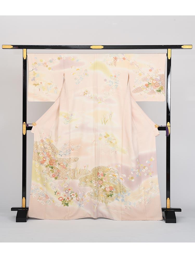 【高級訪問着レンタル】h-61 淡いピンク 古典柄 MLサイズ 花々