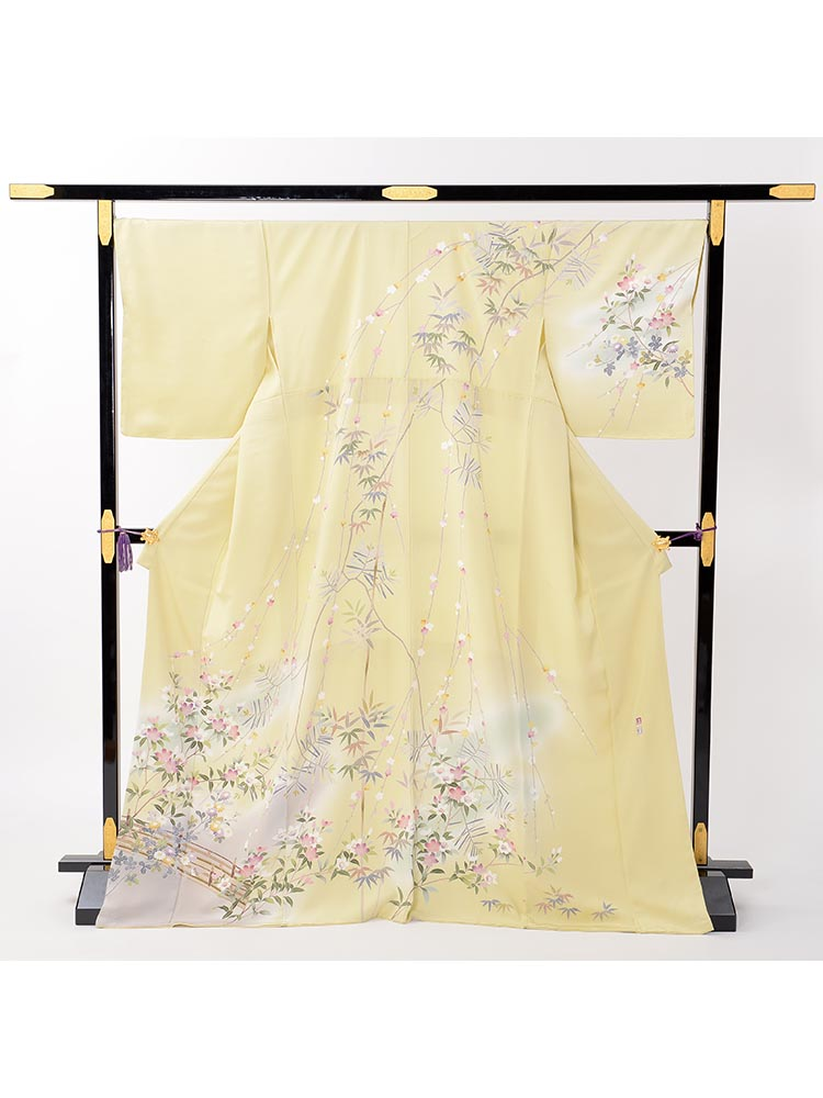 【高級訪問着レンタル】h-69 京加賀友禅 黄色 LOサイズ 桜