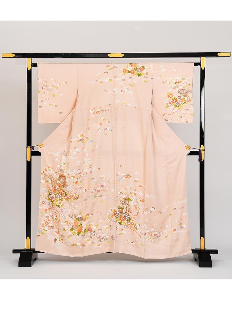 【高級訪問着レンタル】h-77 小柄な方向きのピンク MSサイズ 花々