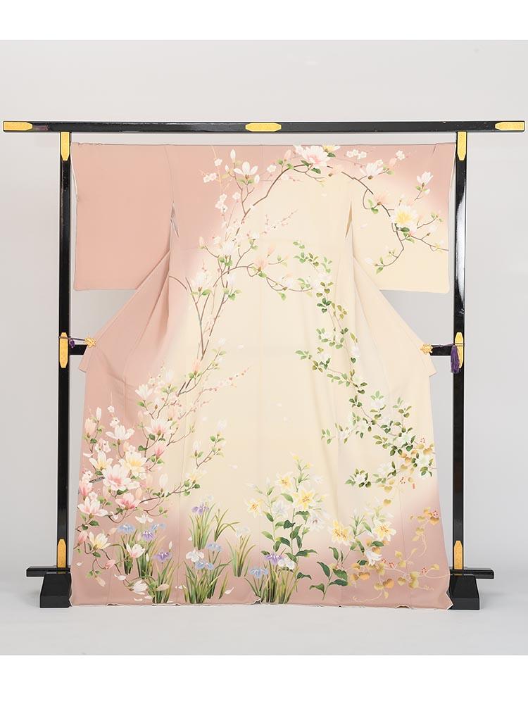 【高級訪問着レンタル】h-84 ピンク系に四季の花 LLサイズ 四季の花