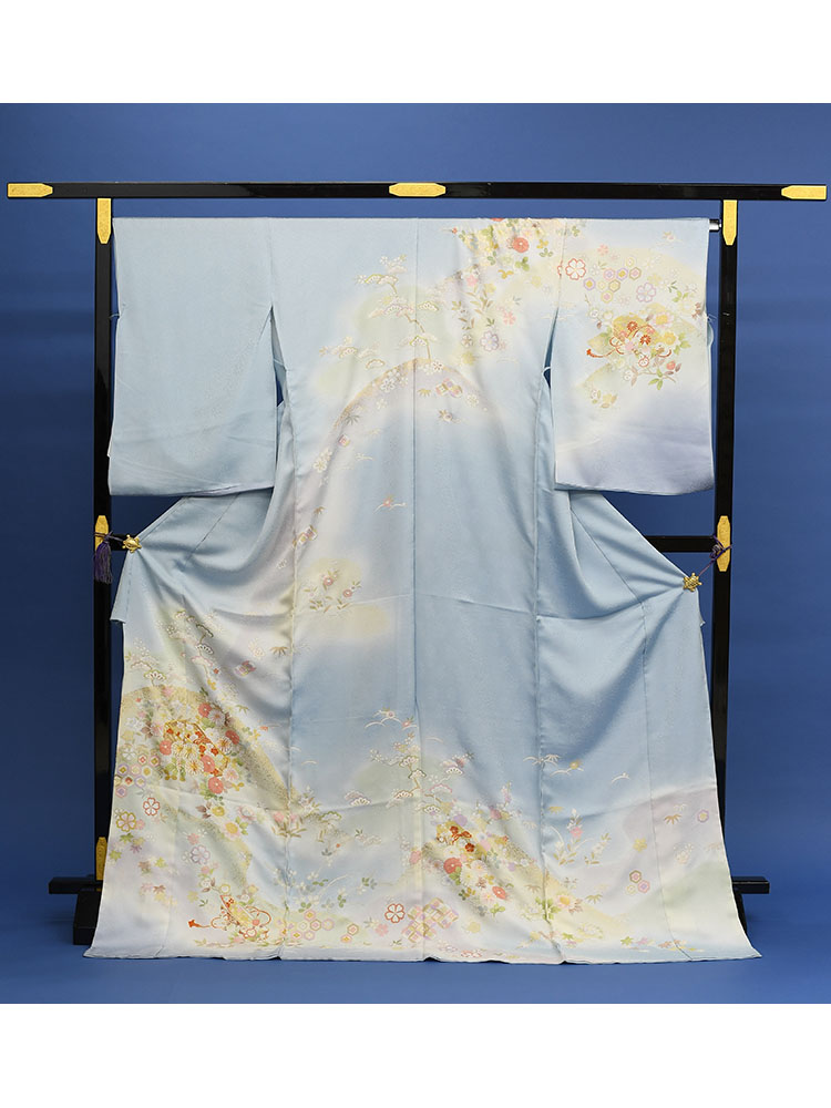 【高級訪問着レンタル】h-87 きれい目 水色 古典柄 MSサイズ 花々
