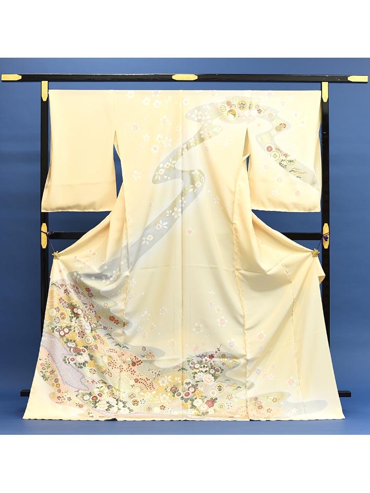 【高級訪問着レンタル】h-89 黄色系 花柄 MLサイズ 花々