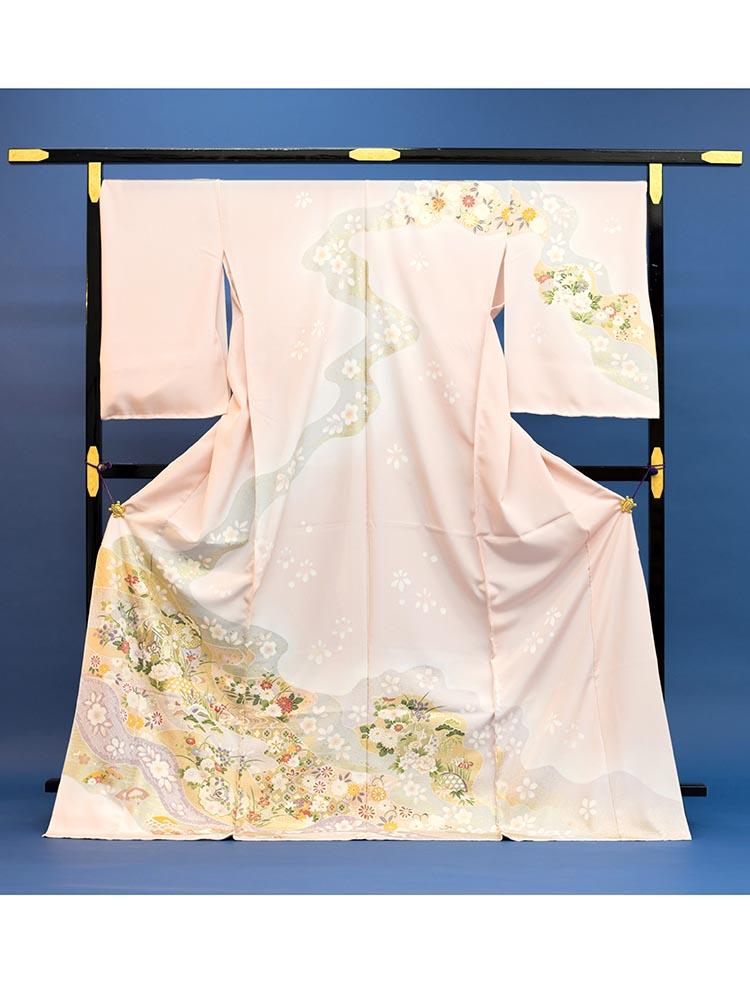 【高級訪問着レンタル】h-91 淡いピンク・花々 LLサイズ 花々