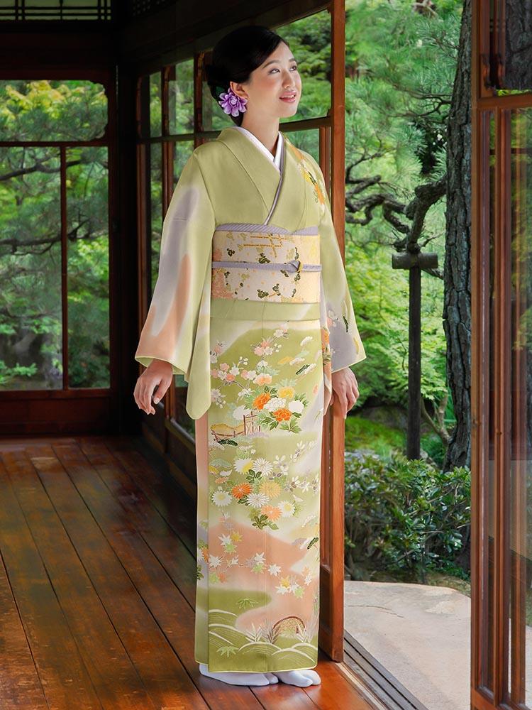 【高級訪問着レンタル】h-94 白木染匠 緑系 MLサイズ 花々