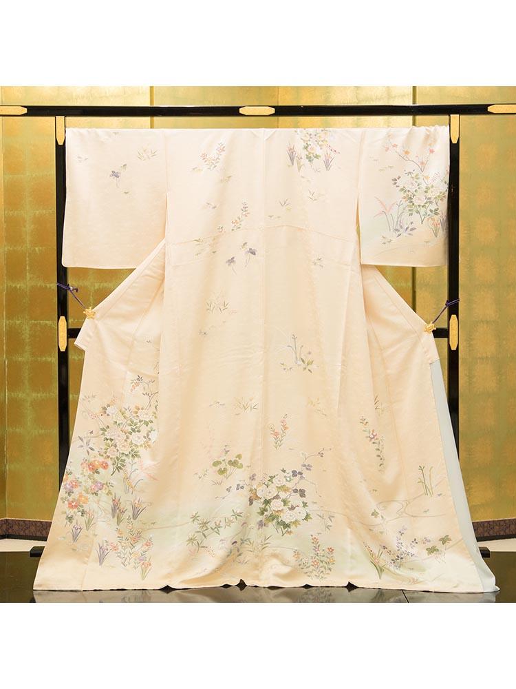 【高級訪問着レンタル】HL-10 ふくよかさん向け クリーム XOサイズ 四季の花