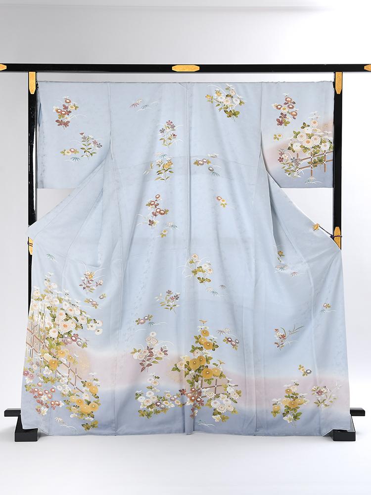 【高級訪問着レンタル】HL-11 ふくよかさん向け 水色 XOサイズ 四季の花