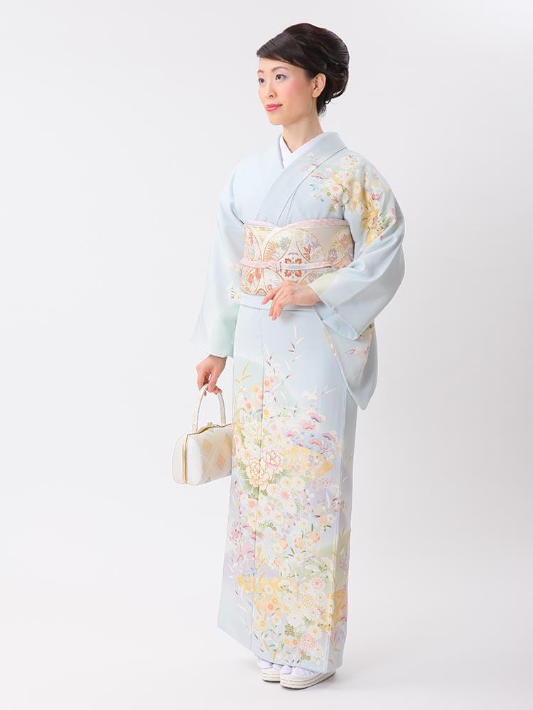 【高級訪問着レンタル】HL-6 吉澤織物 水色 Lサイズ 花々