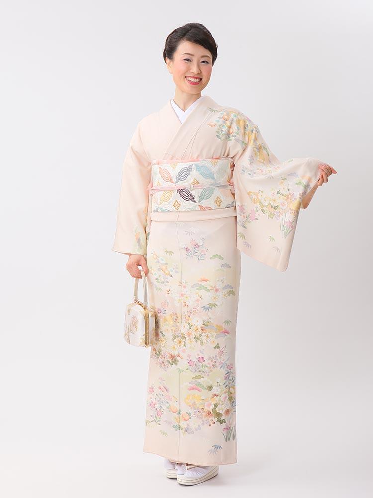 【高級訪問着レンタル】HL-7 吉澤織物 ピンク Lサイズ 花々