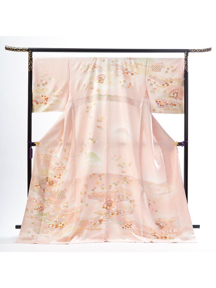 【高級訪問着レンタル】HL-9 ピンク 檜扇 花々 XOサイズ 檜扇