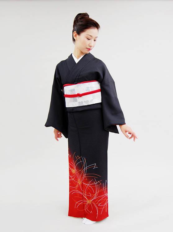 【高級訪問着レンタル】hs-3 黒・赤 花柄 Lサイズ 花