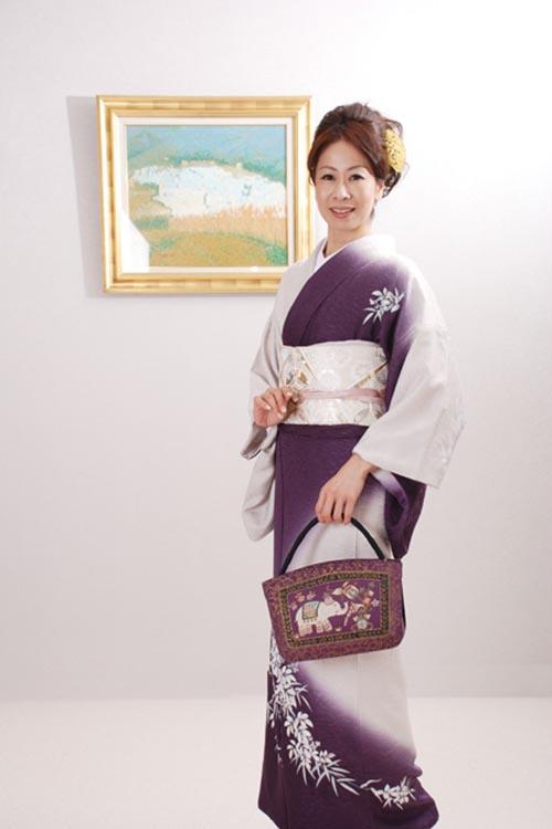 【高級訪問着レンタル】hs-4 紫・グレー Lサイズ 笹