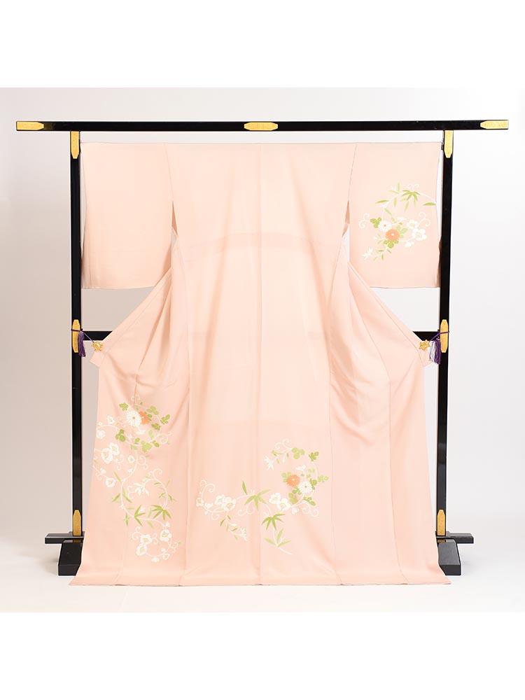 【高級訪問着レンタル】HT-501 背の高い方向け ピンク HTサイズ 花