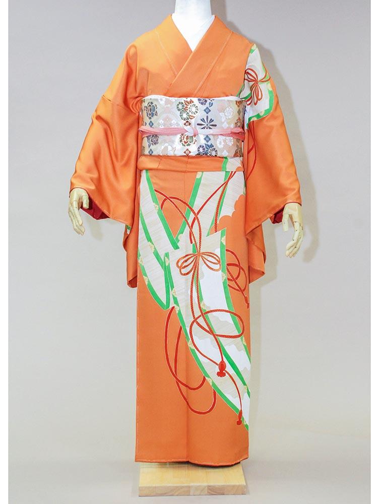 【高級訪問着レンタル】kh-3 アンティーク オレンジ MLサイズ 御簾