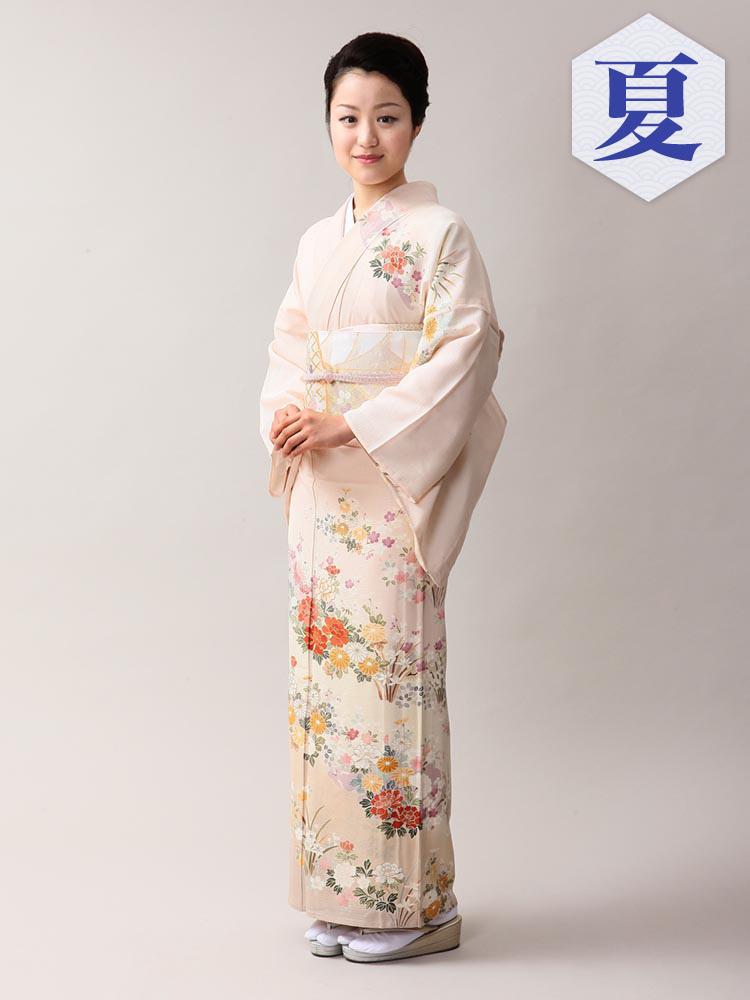 【高級訪問着レンタル】n-11 盛夏 ピンクベージュ MLサイズ 花々