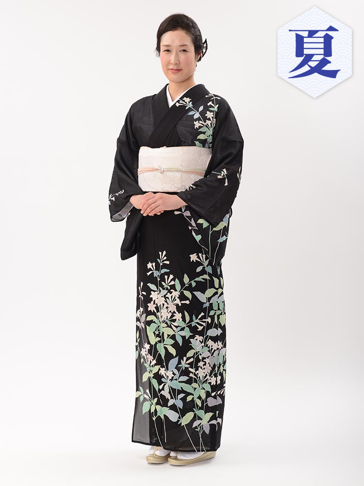 【高級訪問着レンタル】n-13 盛夏 菱健謹製 黒地 LLサイズ 草花