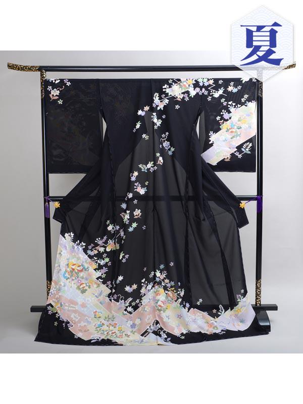 【高級訪問着レンタル】n-17 盛夏 黒地 古典 MLサイズ 花々