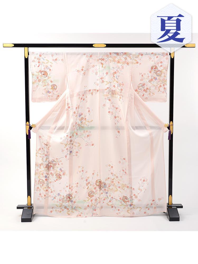 【高級訪問着レンタル】n-21 盛夏 ピンク 雪輪 MLサイズ 花