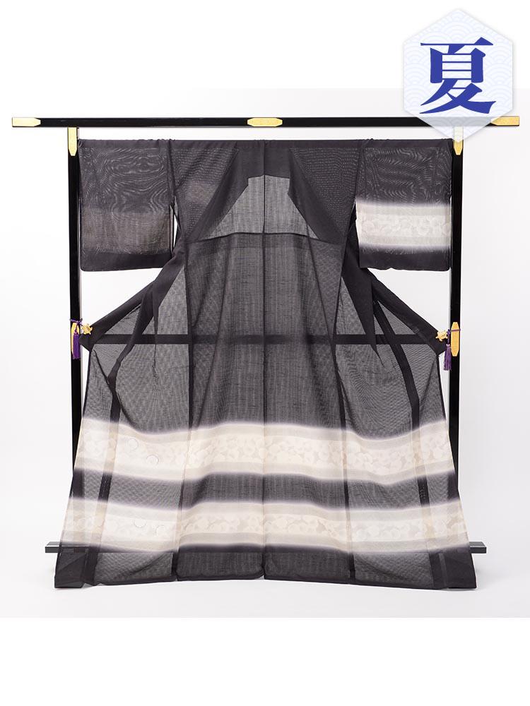 【高級訪問着レンタル】n-29 竪絽 墨色 LOOサイズ 染疋田の段ぼかし