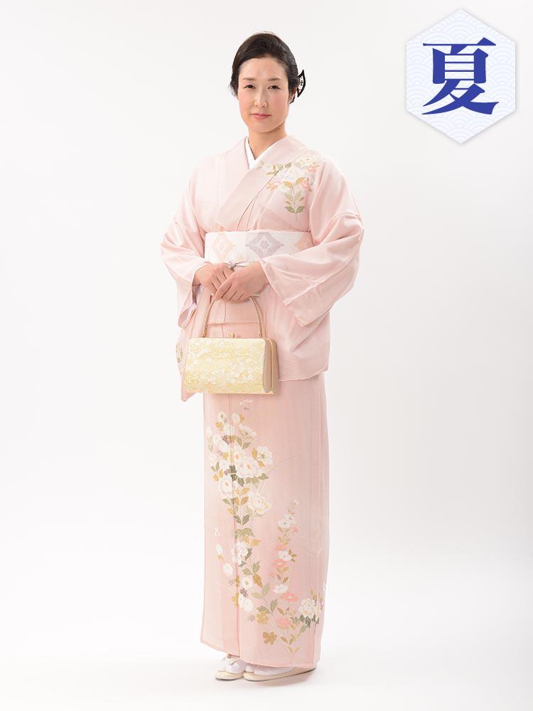 【高級訪問着レンタル】n-32 絽 ピンク 四季の花 LLサイズ 四季の花