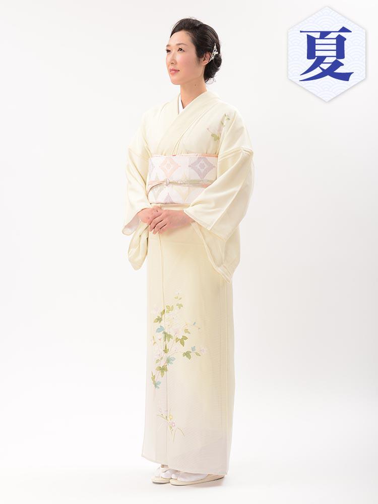 【高級訪問着レンタル】n-33 盛夏 レモンイエロー LLサイズ 草花