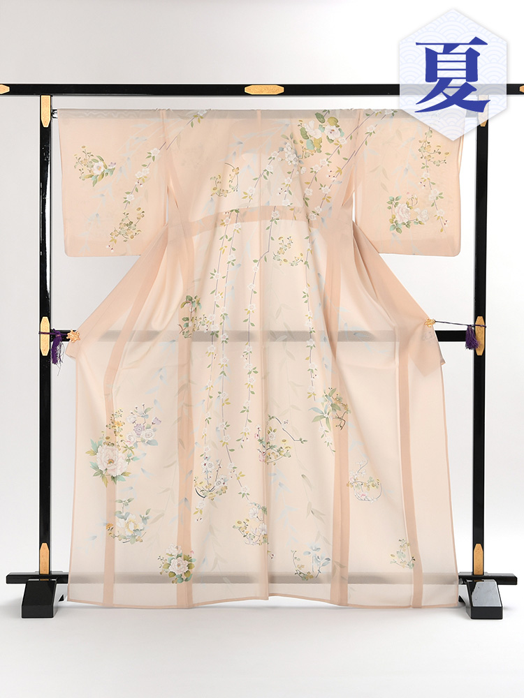 【高級訪問着レンタル】n-7 盛夏 ピンク系 牡丹 MLサイズ 牡丹