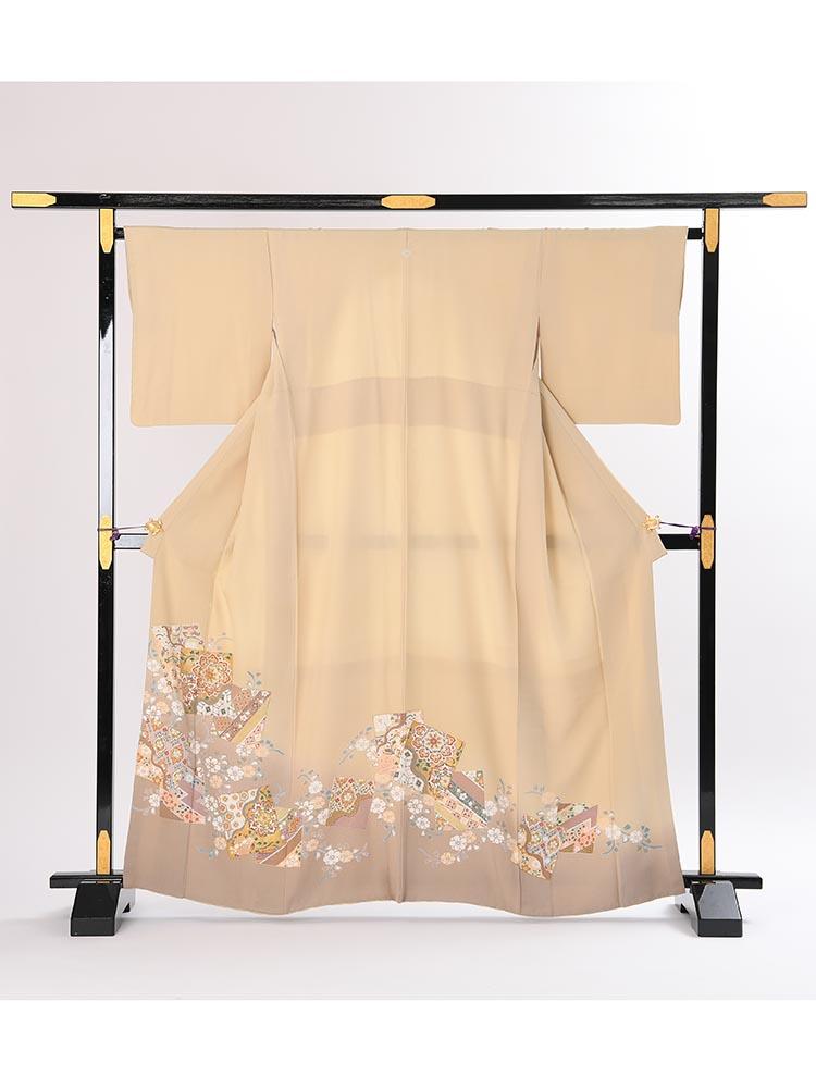 【高級色留袖レンタル】i-103 ベージュ系 色紙取り Mサイズ 色紙取り