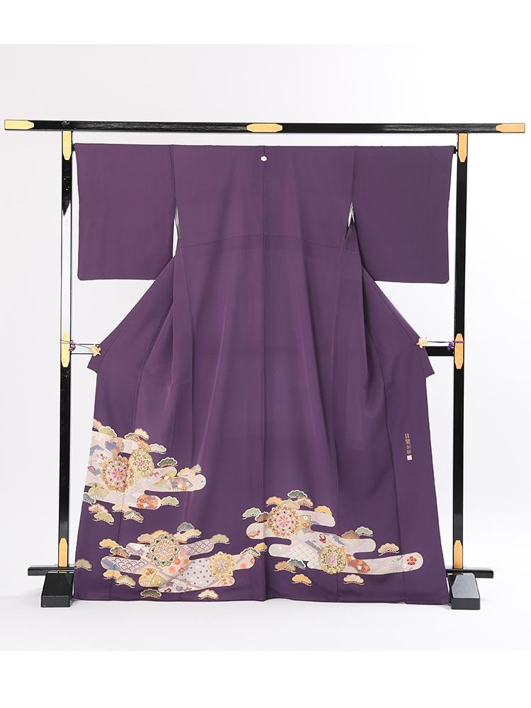 【高級色留袖レンタル】i-107 明るい紫 華文 MLサイズ 華文