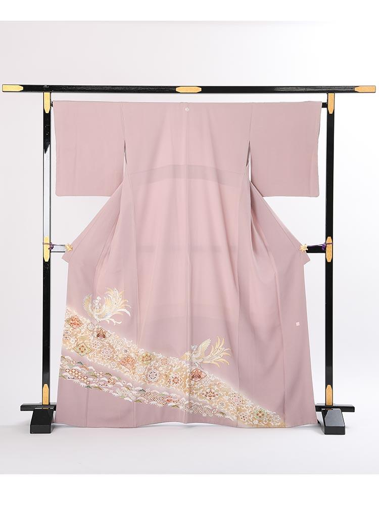 【高級色留袖レンタル】i-108 藤色系 鳳凰 MLサイズ 鳳凰